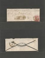 "PORTUGAL. C. 1873. Torres Vedras - Lisboa. Fkd Env 25rs Rose Fita Direita ""39"" Grill + Boxed Town Name. Fine. - Portugal"