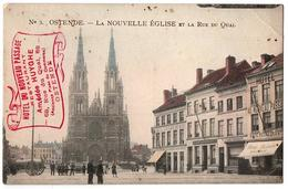 OSTENDE LA NOUVELLE EGLISE ET LA RUE DU QUAI COMMERCES ANIMEE - Belgique