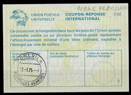 NOUVELLES HEBRIDES / NEW HEBRIDES La22 InternationalReply Coupon Réponse Antwortschein IRC IAS O PORT VILA 12.3.75 - Briefe U. Dokumente