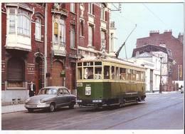 """CPM/CPSM - LILLE - """"ligne Hi Barré"""" Des Tramways """" Rue D'Isly Le 5 Aout 1964 (Panhard Devant Le Tramway) - Lille"""