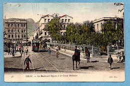 ALGERIE ORAN BOULEVARD SEGUIN ET CERCLE MILITAIRE CPA 1907 PHOTOS R/V - Oran