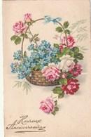 Carte Postale Ancienne Fantaisie - Heureux Anniversaire - Roses Et Myosotis Dans Un Panier - Fantaisies