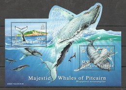 U1004 PITCAIRN ISLANDS FISH & MARINE LIFE HUMPBACK WHALES 1BL MNH - Baleines