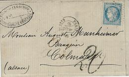 1871- ALSACE - LORRAINE  - Letter From Paris Gare Du Nord To Colmar ( Elsass ) France 25 C + TAXE 20 Pf - Storia Postale