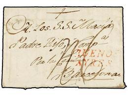 ARGENTINA. 1792 (30 Agosto). BUENOS AIRES A BARCELONA. Carta Completa, Marca BUENOS/AYRES En Rojo. Rara Circulación Tran - Non Classés