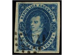 ° ARGENTINA. Sc.30. 1865. 15 Ctvos. Azul. Márgenes Extraordinarios, Mat. ÓVALO DE PUNTOS, Leve Adelgazamiento Sin Import - Non Classés