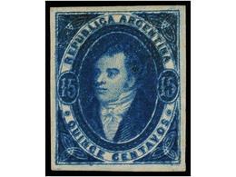 (*) ARGENTINA. Sc.16. 1867. 15 Ctvos. Azul. Color Y Márgenes Excepcionales. EXTRAORDINARIO EJEMPLAR. Ex. LARS AMUNDSEN. - Non Classés