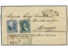 ARGENTINA. Sc.35, 36. 1889 (7 Julio). SAN JOSE DE FLORES A ITALIA. 16 Ctvos. Verde Y 20 Ctvos. Azul. Mat. Fechador De SA - Non Classés