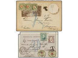 ARGENTINA. 1889-90. Dos Enteros Postales Tasados Con Sellos Suizos De 10 + 20 Cts. Y 5 + 10 + 20 Cts. - Non Classés