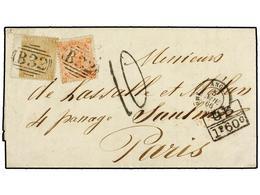 ARGENTINA. 1866. BUENOS AIRES A PARÍS. Circulada Con Sellos Británicos De 4 D. Naranja (pl. 9) Y 4 D. Bistre (pl. 4), Ma - Non Classés
