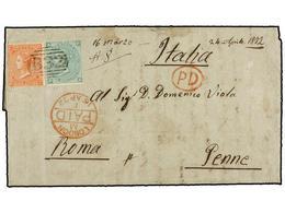 ARGENTINA. 1872. BUENOS AIRES A ROMA. Circulada Con Sellos Británicos De 4 D. Naranja (pl. 12) Y 1 Sh. Verde (pl. 5) Mat - Non Classés