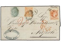 "ARGENTINA. 1874. BUENOS AIRES A NÁPOLES. 5 Cts. Naranja, Mat. ""B"" En Un Rombo, Circulada En Buque Mercante Y Redirigida  - Non Classés"