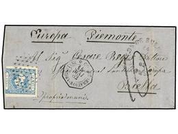 ARGENTINA. 1862. BUENOS AIRES A BIELLA (Italia). 1 Peso Azul Claro (un Margen Corto), Mat. ÓVALO DE PUNTOS Y Fechador De - Non Classés