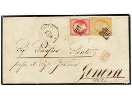 ARGENTINA. 1867. BUENOS AIRES A GÉNOVA. Circulada Con Sellos Franceses De 40 Cts. Naranja Y 80 Cts. Rojo, Mat. P.D.  En  - Non Classés