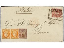 ARGENTINA. 1872. BUENOS AIRES A GÉNOVA (Italia). 8 Cts. Carmín Lila Y Sellos Franceses De 20 Cts. Castaño Lila Y 40 Cts. - Non Classés