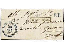ARGENTINA. 1857. BUENOS AIRES A GÉNOVA. Carta Completa Con Fechador BUENOS AYRES De La Oficina Sarda En Buenos Aires En  - Non Classés