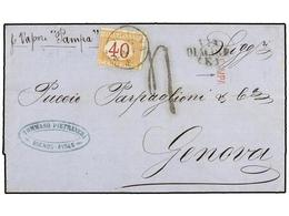 """ARGENTINA. 1870 (17-2). BUENOS AIRES A GÉNOVA. Carta Circulada Por La Compañía ITALO-PLATENSE En El Vapor """"Pampa"""". Marca - Non Classés"""