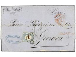 """ARGENTINA. 1871 (9-1). BUENOS AIRES A GÉNOVA. Carta Circulada Por La Compañía ITALO-PLATENSE En El Vapor """"Italo-Platense - Non Classés"""