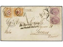ARGENTINA. 1874. BUENOS AIRES A LIVORNO. Circulada Con Dos Sellos Italianos Habilitados ESTERO, Sin Sello Argentino Ya Q - Non Classés