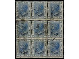 ° ITALIA. (1875 CA.). 20 Cts. Azul Habilitado ESTERO (Sa. 5). Bloque De Nueve Con Mat. DA BUENOS AIRES/COI POSTALI ITALI - Non Classés