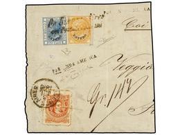 ARGENTINA. 1876. BUENOS AIRES A ITALIA. Fragmento De Carta Con Sello De Argentina De 5 Cts. Naranja Y Sellos Italianos H - Non Classés