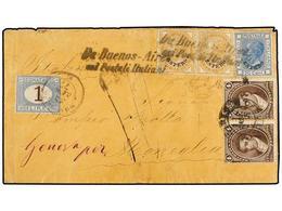 ARGENTINA. 1877. BUENOS AIRES A MONEGLIA. Circulada Con Dos Sellos Argentinos De 4 Ctvos. Castaño Y Sellos Italianos Hab - Non Classés