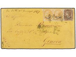 ARGENTINA. 1877. BUENOS AIRES A GÉNOVA. Circulada Con Sellos Italianos Habilitados ESTERO De 10 Cts. Naranja (2) Y 30 Ct - Non Classés