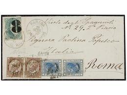 ARGENTINA. 1877. PARANA A ROMA. Circulada Con Sello Argentino Provisional De 8 S. 10 Ctvos. Verde, Mat. PARANA/ENTRERIOS - Non Classés