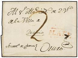 "BOLIVIA. (1790 CA.). PLATA A ORURO. Envuelta Con La Marca PLATA (nº 2) En Rojo, Porte Simple De ""2"" Reales. - Non Classés"