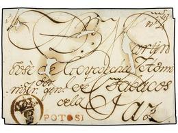 BOLIVIA. (1795 CA.). FRONTAL Circulado A LA PAZ. Marcas POTOSÍ (nº 1) En Rojo Y Marca Circular De FRANQUICIA OFICIAL En  - Non Classés