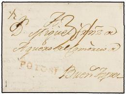 BOLIVIA. 1795 (26 Enero). POTOSÍ A BUENOS AIRES. Carta Completa Con Texto, Marca Lineal POTOSÍ (nº 1) En Rojo, Porte Dob - Non Classés