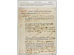 BOLIVIA. 1797 (24 Noviembre). RECIBO DE UNAS ENCOMIENDAS Enviadas De POTOSÍ A CUZCO Por Un Valor De 12 Pesos (96 Reales) - Non Classés