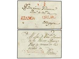 """BOLIVIA. (1810 CA.). FRONTAL Circulado A COTAGAITA. Marcas ORURO Y FRANCA (nº 2 Y 3), """"3 1/2"""" Correspondientes A Un Dobl - Non Classés"""