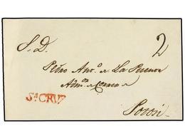 "BOLIVIA. (1810 CA.). FRONTAL. SANTA CRUZ A POTOSÍ. Marca SA. CRUZ (nº 2) En Rojo Y Porte De ""2"" Reales. RARA. - Non Classés"