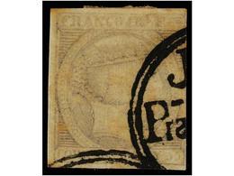 ° COLONIAS ESPAÑOLAS: FILIPINAS. Ed.3b. 1 Real Gris Azulado, Mat. Circular JUZGADO/PRAL. DE YLOCOS/SUR En Negro. RARÍSIM - Sellos