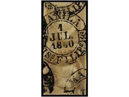 ° COLONIAS ESPAÑOLAS: FILIPINAS. Ed.3b (2). 1 Real Gris, Mat. Fechador MANILA/1-JUL-1860/IS. FILIPS. Pareja Vertical, ín - Sellos