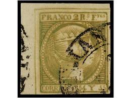 ° COLONIAS ESPAÑOLAS: FILIPINAS. Ed.4. 2 Reales Verde Amarillo, Mat. Fechador De MANILA/IS. FILIPINAS. Esquina De Pliego - Sellos