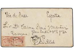FILIPINAS. Ed.32 (2). 1874. MANILA A ESPAÑA. 62 Cts. Rojo (2), Mat. PARRILLA COLONIAL Y Fechador MANILA/*.  Al Dorso Lle - Sellos