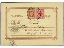 COLONIAS ESPAÑOLAS: FILIPINAS. 1898. Entero Postal De 5 Mils. Rojo Ilustrado Al Dorso LOS SALUDOS DE FILIPINAS Circulado - Sellos