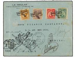 FILIPINAS. 1926 (May 13). APARRI To MANILA. FIRST FLIGHT. RAID MADRID-MANILA. Envelope Franked With Philippines 2, 4, 6, - Sellos
