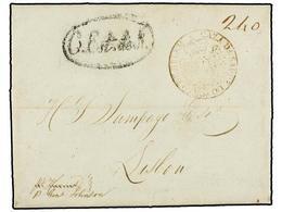 PORTUGAL. 1818. BALTIMORE (U.S.A.) A LISBOA. Marca Circular CAZA DA SAUDE DO PORTO DE BELEM En Tinta Sepia. (Fraçao LSB- - Sellos