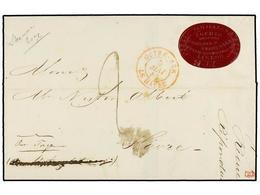 PORTUGAL. 1846. MADEIRA A FRANCIA. Encaminada Hasta Lisboa. Etiqueta Ovalada En El Frente JOSEPH VALENZELLER/AGENTS FOR  - Sellos