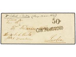 """ANGOLA. 1863. LOANDA A LISBOA. Sobre Sin Texto, Indicación Manuscrita En El Frente """"Dn. Cabral A Loanda"""". Marca CORº MAR - Sellos"""
