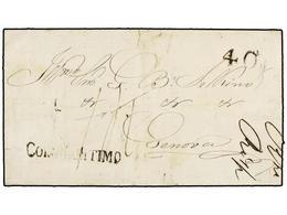 CABO VERDE. 1857. SAO VICENTE A GÉNOVA. Carta Circulada Vía Lisboa Y España. Marca COR. MARITIMO Y Negro Y Tasa De 40 Re - Sellos