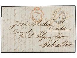 MACAO. 1848. MACAO To CADIZ (Spain). Carta Completa Circulada Vía Hong-Kong, Marca PAID/AT/HONG KONG En Rojo, Desinfecta - Sellos