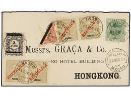 """MACAO. 1911. MACAO A HONG KONG. Precioso Franqueo Combinado Con Sello De """"Coronas"""" De 6 Avos. S. 10 Avos. Al Dorso Llega - Sellos"""