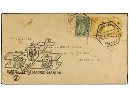 MACAO. 1926. MACAO To MANILA. FIRST FLIGHT MADRID A MANILA Stage MACAO-MANILA Envelope Franked With 2 A. And 4 A. (2) Ma - Sellos