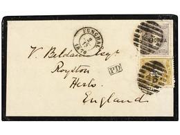 PORTUGAL: MADEIRA. 1870. FUNCHAL A INGLATERRA. 20 Reis Bistre Y 100 Reis Lila, Mat. PARRILLA 45 Y Fechador FUNCHAL. Rara - Sellos