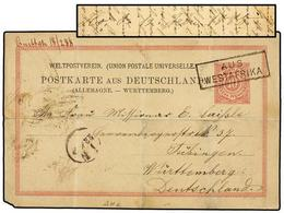 MOZAMBIQUE. 1888. IBO (Mozambique) To GERMANY. 10 Pf. Red German Reply Card Sent Via QUITTAH (Gold Coast) Cancelled AUS/ - Sellos