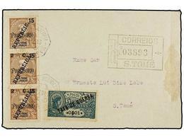 PORTUGAL: ST THOMAS & PRINCE. 1919. ST. THOME Correo Interior. 2 1/2 C. S. 15 Cts. Castaño. Tira Vertical De Tres, Sello - Sellos